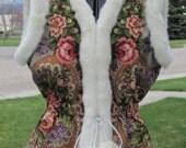 Wool Vest with Mink faux fur trim