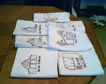 old style barns on a set of 7 dishtowels