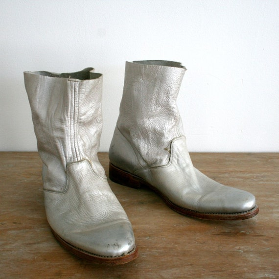 vintage metallic silver N.D.C. made by hand ankle boots size 38.5 / 8.5