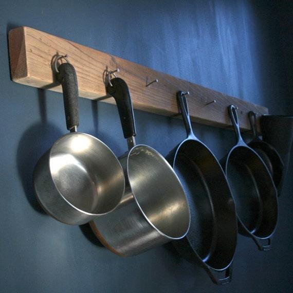 items similar to diy aesthetic reclaimed wood pot pan hanging rack on etsy. Black Bedroom Furniture Sets. Home Design Ideas