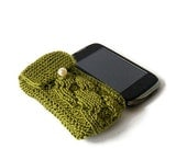 Olive Phone Cozy, Green Knitted Phone Case.