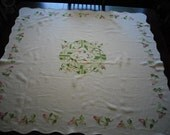 Hand Embroidered Linen Table Cloth--Very Good Condition-- Floral Pattern