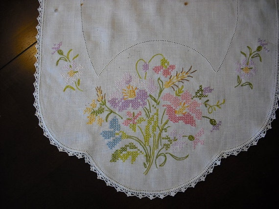 Antique Linen Table Runner for Buffet, Dresser, Hall Table, Dining Table--Lovely Floral Needlepoint Design with Crochet Edging