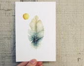 Feather . 4x6 Fine Art Print . feather art . watercolor . minimal . tribal . nature . natural history