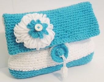 crochet Purse Blue fold over CLUTCH bag purse Make Up Travel Gadget  Bag vintage