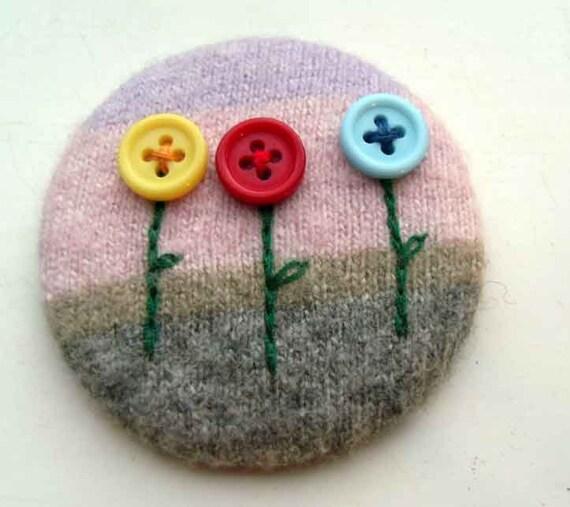 Flowers Felt Pin-Back Badge-Brooch