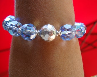 Blue 12mm Swarovski  crystal bracelet. Sterling silver.