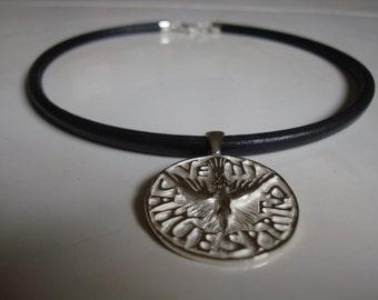 Holy Spirit medal pendant. Solid sterling silver.