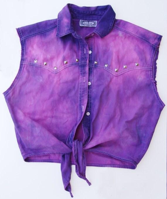 Studded and Distressed Pink Faded Vintage Denim Vest MEDIUM