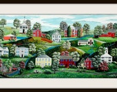 Colorful and Whimsical Folk Art Giclee Print of South Windsor, CT by artist Tom Menard