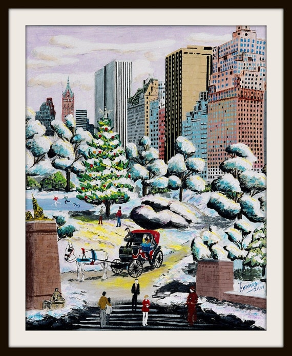 "New York Ctiy  -  A Whimsical and colorful Folk art print  by artist Tom Menard ""A Ride through Central Park"""