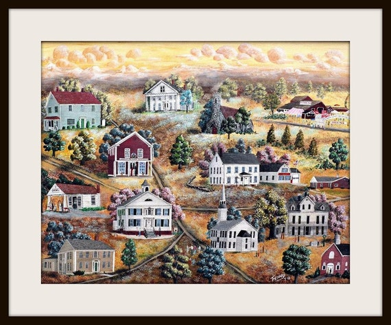 Colorful and Whimsical Folk Art Print of Brooklyn, Ct a small town in the quiet corner of CT