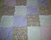 Flowers, polka dots and stripes rag quilt and burp cloth set