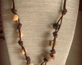 Knotted-Leather Ceramic Fossil Necklace