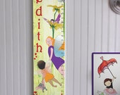 Personalized Wooden Growth Chart - Woodland Fairies