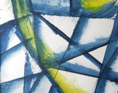 "Original Contemporary OOAK Watercolor Painting 11.7 x 8.3 "" Airways"""