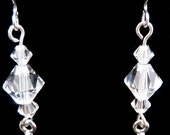 Clear Swarovski Crystal Silver Plated Drop Earrings - Customizable