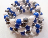 Hematite White and Blue Mountain Jade Wrap Bracelet