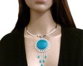 Large Pendant - Dangle Choker - Turquoise Mountain Jade - Drop Necklace