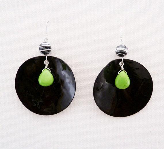 Black Mussel Shell Earrings - Lime Green Turquoise - Drop Earrings - Sterling Silver Earwires