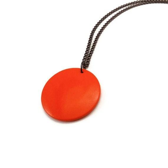 Wood Necklace - Neon Orange Necklace - Wood Pendant Necklace - Hand Painted Geometric Necklace