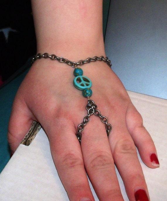 Genuine Green Blue Turquoise PEACE Symbol Slave Bracelet Unique OOAK  Handmade  Adjustable Custom Finished to Order