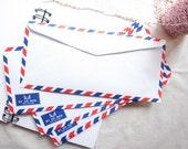Set of 20 classic airmail envelopes / par avion envelopes 10.8cm X 23.5 cm