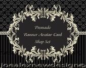 Premade Etsy Shop Set Banner Avatar Business Card  Damask Card Graphic Design