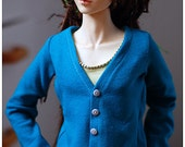 Buttoned tricot shirt for BJD -  Bright blue
