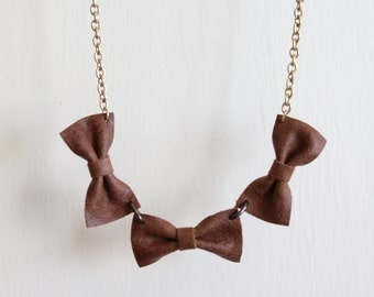 Handmade Brown Leather Mini Bow Necklace