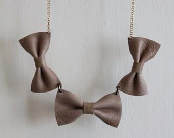 Handmade Beige Bow Tie Necklace
