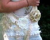 Cream, shabby chic, farm girl, country chic, mori, boho, fairy, garden party, wedding, bridal, bridesmaids, lace, pearls, doilies, bag
