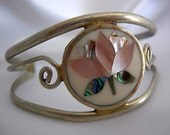 Abalone and Nickel Silvertone Cuff Bracelet - Signed ALPACA MEXICO - Vintage