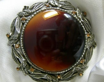 Brown Mineral Stone and Pewter Tone Combo Brooch Pendant - Unsigned - Vintage 1960-80