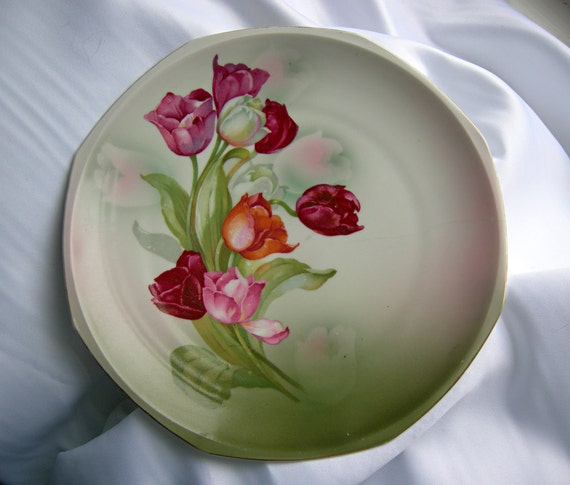 Hand Painted Tulips China Plate - Signed MZ Austria - Vintage Circa 1900