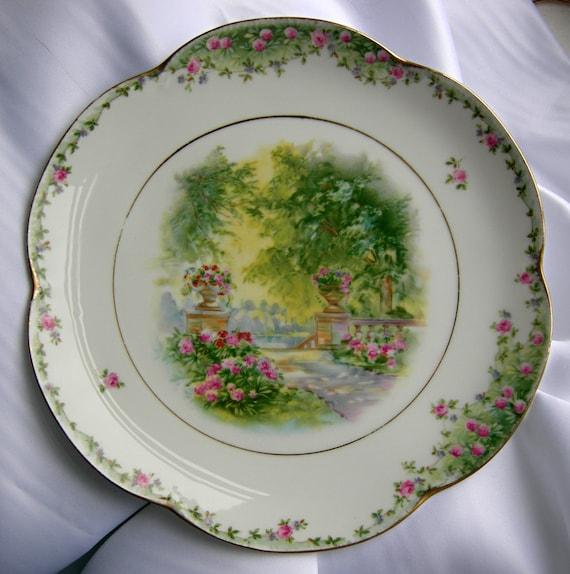 Reserved for Rashidah - Vintage or Antique Scalloped Edge Plate - Signed ALICE JHR BAVARIA - Vintage or Antique
