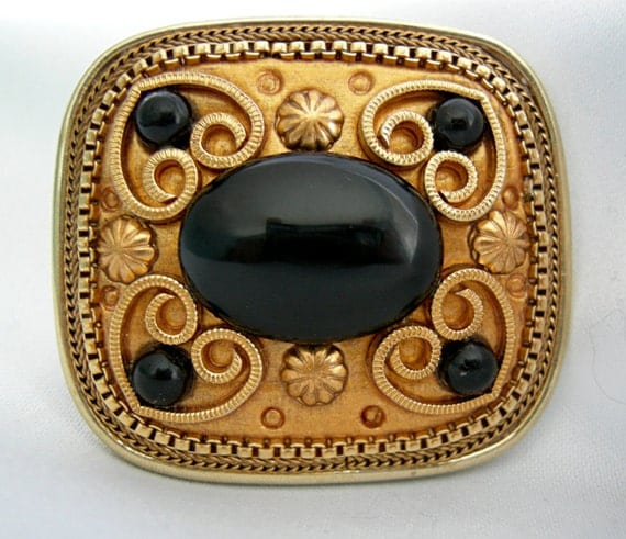 Stunning Goldtone and Black Stone Brooch - Signed MICHAL GOLAN Israeli Born Designer - 1970-90