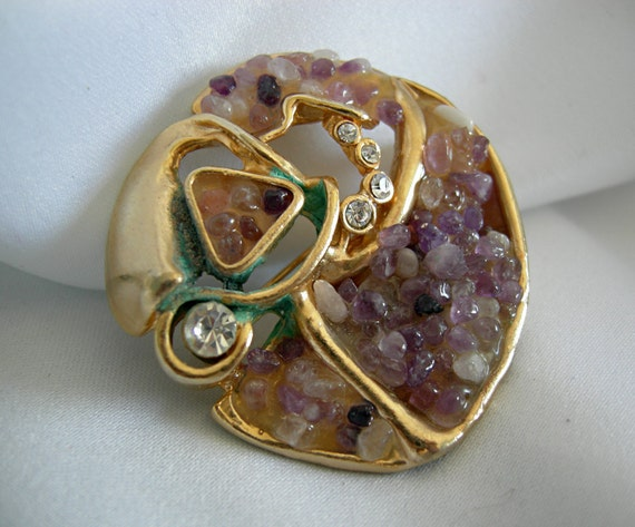 Naturalistic Mineral Studded Brooch with Amethyst and Rhinestone - Unsigned - Vintage 1960 - 1980