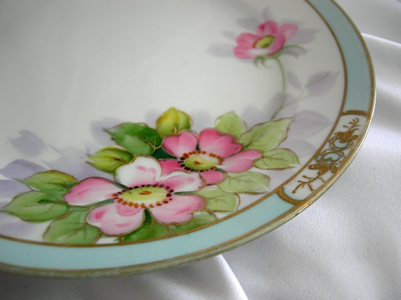SALE - Antique Hand Painted Plate Pastel Blue, Pink, Raised Metallic Gold Floral - Signed Tree Crest Mark - NIPPON - Circa 1910