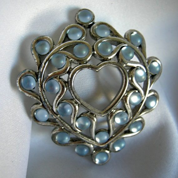 Azzure Silvers: Azure Blue Stone And Silver Tone Heart Shaped By