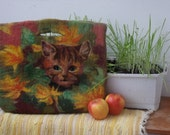 "Felted bag ""Cat in the Flowerbed"""
