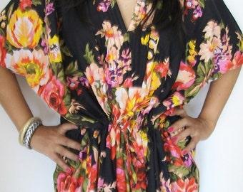 Black Floral Kaftan , Caftan, Perfect long dress,  For to be Moms, beach cover up, Sleepwear, Long Kaftan, Long Caftan, Best Gift for Her