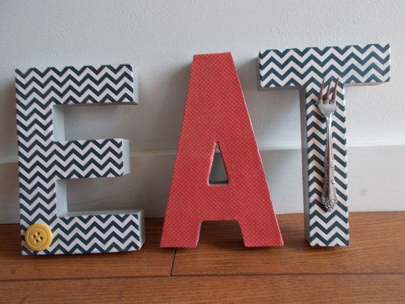 Retro inspired chevron print fun kitchen decor for Kitchen letters decoration