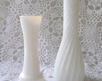 Pair of Milkglass Bud Vases, Summer Tabletop Decor, Rustic Country Wedding