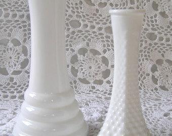 Milk Glass Vases, DIY Rustic Farm Wedding Tabletop Decor, White Glass Vignette