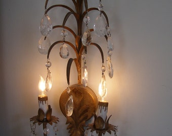 ViNtAgE paris chic electric wall sconce with prisms