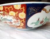 "Gold Imari Handpainted Red Blue Gold Bowl Japanese Porcelain 11"" diameter Sale"
