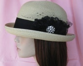 Straw Braid Bowler Hat with Handmade Lace Embellishment