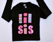 Big Brother Little Sister T Shirt Sibling Lil Sis Big Sis Applique Shirt