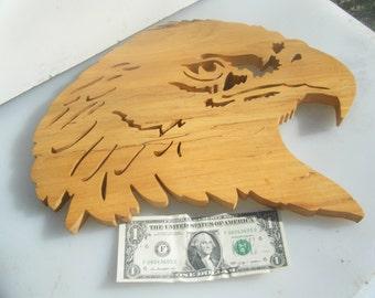 Handmade Wooden Scrollsaw Eagle Head PRICE REDUCED